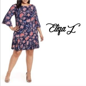 Eliza J navy floral bell sleeve dress NWT size 22